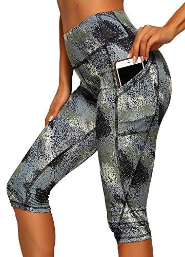 INSTINNCT Damen Doppeltaschen Sport Leggings 3/4 Yogahose Sporthose Laufhose Training Tights mit Handytasche Capris(normal) - Blumen-1185 XL -