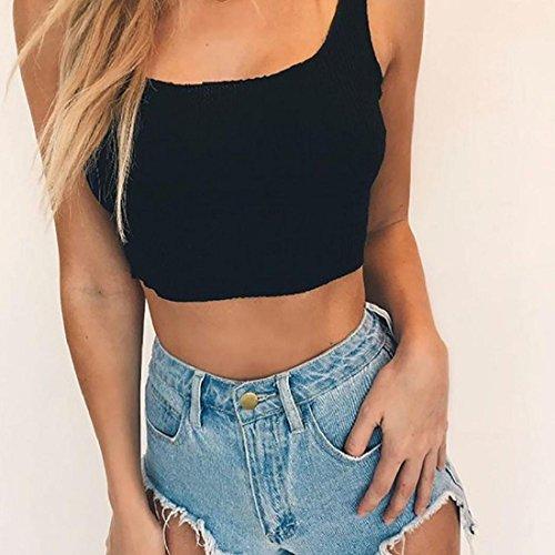 Culater® Femmes Chic Sans manches Crop Tops Débardeur Débardeur Chemisier T-shirt Noir