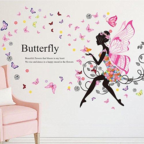 Ouneed® Wandaufkleber Wandtattoo Wandsticker ,2016 Schmetterlings Blumen  Fee Aufkleber Schlafzimmer Wohnzimmer Wände (Rosa A)