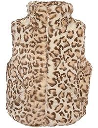 Urban Republic Little Girls Ivory Tan Leopard Pattern Faux Fur Trendy Vest 4-6X
