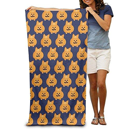 PGTry Halloween Kawaii Corgi Kürbis Erwachsene Baumwolle Strandtuch 31x 51-inch