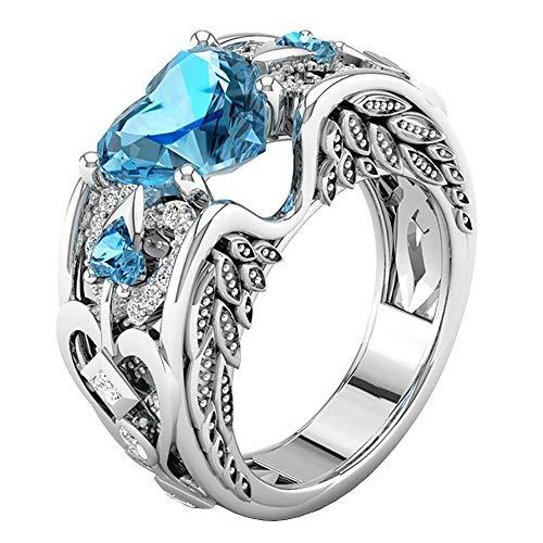 Cwemimifa Silber Ton Edelstahl Ring Band Hochzeit Lieben Gravur, Silber Natürliche Rubin Edelsteine   Birthstone Braut Hochzeit Verlobungsherz Ring SB, Sky Blau, 6# (Billig Birthstone Ringe)