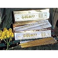 1 sola confezione da 12 pezzi x 15 g confezioni di Happy Hari's Nag Champa oro!! Best speciale laminati a mano, Temple-Bastoncini di incenso Masala, con scritta