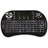 Fusion5 Mini teclado Wireless Keyboard KODI XBMC Teclado Ratón Touchpad Combo - Portátil multimedia teclado Android - Ideal para PC Google Android Smart TV Box Media Mini PC TV Stick HTPC IPTV Portátil Raspberry PI-Negro (PS3 Ratón táctil)