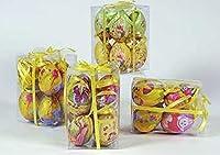 Idea Pasqua: confezione 6 uova pasquali decorate; oggetto decorativo; 4 decori assortiti