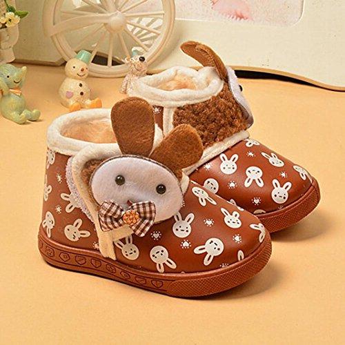 Hunpta Kleinkind Baby Mädchen Stiefel jungen Kind Winter Dicke Schnee Stiefel Fell Schuhe (Alter: 6-7 Jahren, Braun) Braun