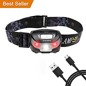 USB Rechargeable LED Head Torch, Vansky Super Bright LED Headlamp, Waterproof Lightweight Hands Free with White & Red Light 5 Modes for Running, Camping, Fishing, Hiking【USB Cable Included】 11