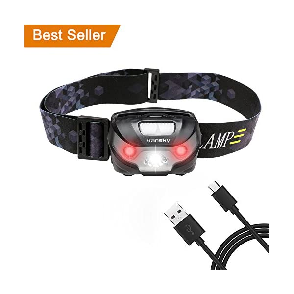 USB Rechargeable LED Head Torch, Vansky Super Bright LED Headlamp, Waterproof Lightweight Hands Free with White & Red Light 5 Modes for Running, Camping, Fishing, Hiking【USB Cable Included】 1