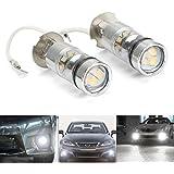 FEZZ LED Bombillas de Coche Auto LED H3 100W Sharp 20SMD Lamparas Iluminación Para faros antiniebla DRL 6500K Blanco Frío (Paquete de 2)