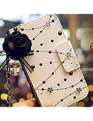 swsd hermosa Crystal Flower sintético Skin Funda tipo libro con cierre magnético de piel sintética tipo cartera para iPhone 5/5S/6/6plus (propio Portable cadena y Rose Dust plug) + Protector de pantalla + paño de limpieza + Stylus (iPhone 6), color blanco
