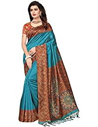 Ishin Poly Synthetic Printed Women's Saree Sari With Tassels