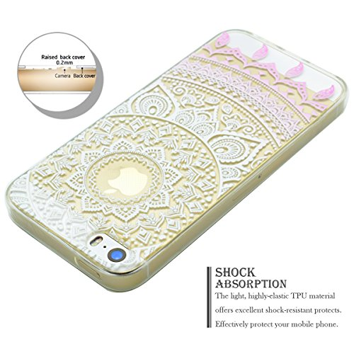 Coque iPhone SE, Coque iPhone 5S, SpiritSun Etui Coque TPU Slim Bumper pour Apple iPhone SE / 5 / 5S Souple Housse de Protection Flexible Soft Case Cas Couverture Anti Choc Mince Légère Transparente S Mandala Rose