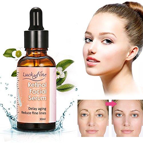 Hyaluronsäure Gesichtsserum, Luckyfine 2,5% Retinol Vitamin E Vitamin C Gesichtspflege Serum, Bestes für Anti-Aging, Anti Falten Hyaluronsäure, Gesichts- und Körperpflege 30ml -