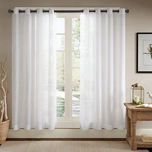 URBAN HABITAT Solid Sheer Ösenschal Voile Vorhang in Leinen-Optik Ösenvorhang Gardine Wohnzimmer Elegant, Offwhite (2er-Set, je 229x147cm) (Sheer Weiß Vorhänge)