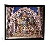 """Quadro con cornice: Jacopo Avanzi """"Il Santo"""" - stampa artistica decorativa, cornice di alta qualità, 40x30 cm, nero / angolo grigio"""