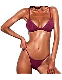 Bikini Trajes de baño Mujer, Manadlian Traje de baño de las mujeres Sujetador push-up acolchado Conjunto de Bikini de Playa Trajes de baño (S, Vino)