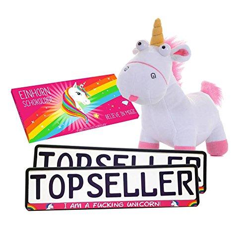 Preisvergleich Produktbild Einhorn Set Pink Minions Plüschtier Kennzeichenhalterung Unicorn Schokolade WOW