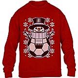Kids Weihnachtspullover Fussball Schneemann