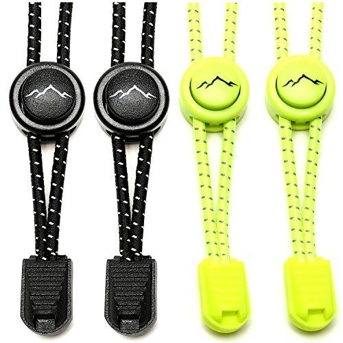 gipfelsport Elastische Schnürsenkel - Gummi Schnellschnürsystem ohne Binden | für Kinder, Herren, Damen | 2X Paar: schwarz/neon-gelb