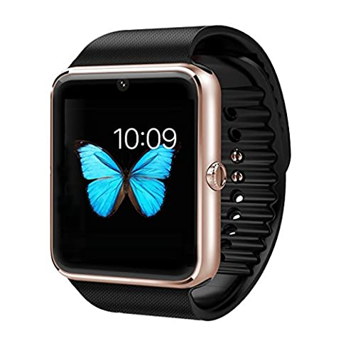 Smart Watch Phone, GanRiver® Smartwatch Bluetooth avec Emplacement Carte SIM Camera pour Android iOS Smartphones like, iPhone Samsung Sony Huawei, Fitness Tracker Watch pour Femme Homme , pour Sport Running Outdoor ( Tracker d'Activité , Podometre , Surveillance de sommeil, Lecteur vidéo et musique, Notification Appels & SMS, Notifications d'APP ( WhatsApp, Skype, Facebook...), Contrôle de la Camera à distance, Calendrier, Chronomètre, Calculatrice ) 【Non APP pour iPhone 】