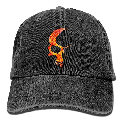J5E7JYTE Fire Skull Frame Denim Hat Adjustable Unisex Washed Baseball Cap - Ente Frame