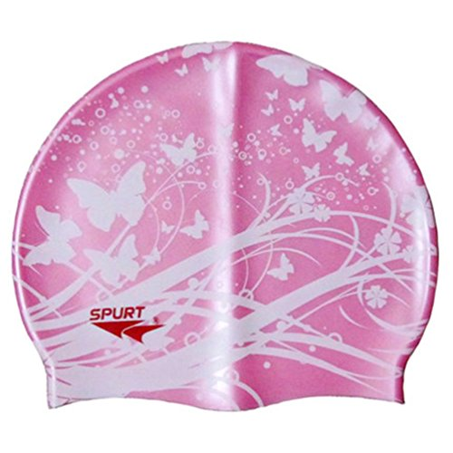Moolecole Mode Damen Wasserdicht Silikon Badekappen Weiche Schwimmen/Baden/Schlaf Kappe Schwimmkappe Haarpflege Swim Cap Rosa Schmetterling