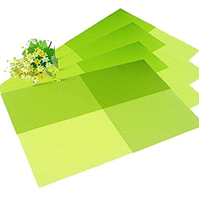 Lulu Home Grid Design PVC Insulation Colorful Dining Room Placemat- Dining Room Placemats for Table Heat Insulation Simple Style Eat Mat - Set of 4 - inexpensive UK light store.
