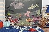 selbstklebende Fototapete - Kinderbild - Kinderbild Unterwasser Tiere X - Meerestiere Cartoon - Vintage - 150x100 cm - Tapete mit Kleber – Wandtapete – Poster – Dekoration – Wandbild – Wandposter – Wand – Fotofolie – Bild – Wandbilder - Wanddeko