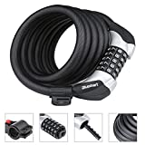 Heavy Duty Bike Lock, High Quality Chain Lock with 5-Digit Resettable Number Combination Cable Lock 6-Feet x 1/2-Inch and 1.35lbs For Bicycle, Scooter, Grills & Other Items That Need To Be Secured