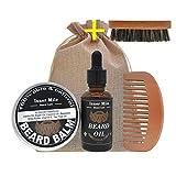 Huoju Beard Oil - Huiles essentielles de première qualité, conçues pour la santé de la barbe, du visage et de la peau - Sérum revitalisant pour la barbe et croissance de la barbe (D)