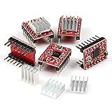 Snowsun Pack Of 5 A4988 StepStick Stepper Motor Driver Module + Heat Sink for 3D Printer Reprap
