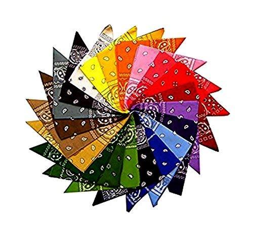 Robelli 100% cotton qualità paisley & tinta unita bandana - multicolore, one size