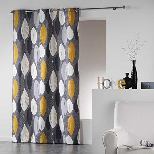 Coton d'interieur tenda a occhielli in cotone, cotone, giallo, 280x140 cm