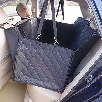 Housse de siège de voiture pour chien Pet Protection de hamac lavable à l'eau pour les voitures SUV et camion, étanche et non glissière Backing et ceinture de sécurité, noir (140x150x45cm)