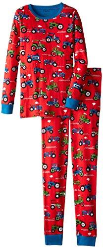 Hatley Jungen Zweiteiliger Schlafanzug Pj Set (Ovl) -Farm Tractors, Rot (red), 7 Jahre