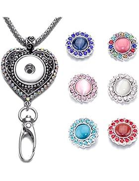 Soleebee austauschbare Silber Bunte Strass Liebeherz Kette ID Kartenhalter Lanyard Click Button Halskette für...