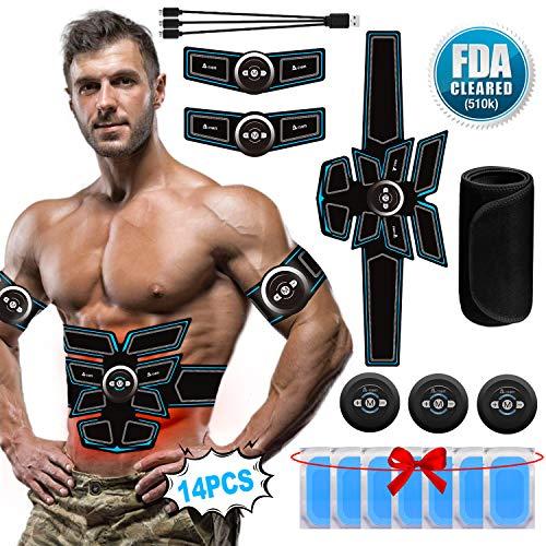 A-TION EMS Trainingsgerät Bauchmuskeltrainer Elektrisch Gürtel, Muskelaufbau Elektrostimulation Männer für Arme Bauch Beine Fitness Geräte (Umfassen Ersatz-Gel-Pads 14PCS + Straffender Gürtel)