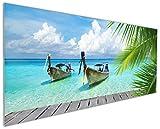 Wallario Küchenrückwand aus Glas, in Premium Qualität, Motiv: Sonnenboot in der Karibik | Spritzschutz | abwischbar | pflegeleicht