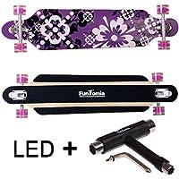 FunTomia Longboard Skateboard Drop Through Cruiser Komplettboard mit Mach1 ABEC-11 High Speed Kugellager T-Tool