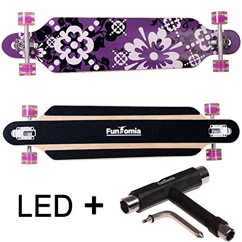 FunTomia® Longboard Skateboard Drop Through Cruiser Komplettboard mit Mach1® ABEC-11 High Speed Kugellager T-Tool (Modell Freerider2 - Farbe lila Blume mit LED Rollen + T-Tool)