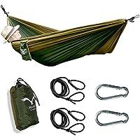 Hawk Outdoor Amaca da viaggio ultra leggera in seta per paracadute, portata200kg, in set con elementi di fissaggio comprensivi di2moschettoni e 2funi, perfetta perviaggi, campeggio, giardino, backpacking e spiaggia