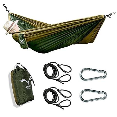 Hawk Outdoor ultra-légère Travel Hamac en soie parachute synthétique–avec fixation–Voyage, camping, jardin, Backpacking, plage, vacances–avec 2mousquetons et 2cordes en tant que Accessoires–jusqu