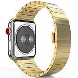 MoKo Armband für Apple Watch 42mm Series 3/2 / 1, Edelstahl Wrist Band Uhrband Uhrenarmband Erstatzband mit Butterfly Metallschließe für Apple Watch 42mm 2017, Gold