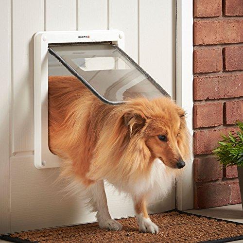 Milo & Misty 2 Wege Verschließbare Hundetür Haustierklappe -Weiß, Medium