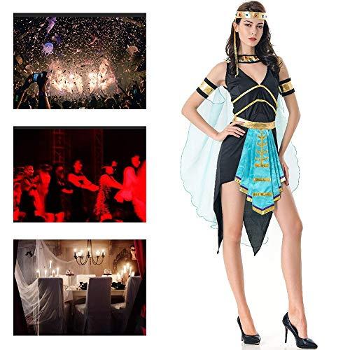 JH&MM Halloween Kostüm Frauen Ägyptische Griechische Göttin Sexy Kleid Set Dress Up Rollenspiele Maskerade Kostüm (Ägyptische Göttin Für Erwachsene Frauen Kostüm)