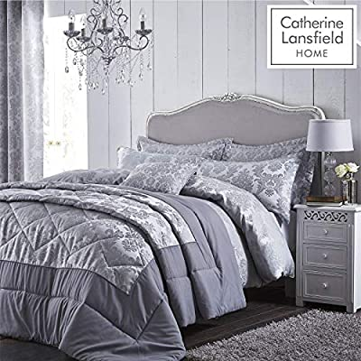 Catherine Lansfield Damask Jacquard Single Duvet Set Silver ALL SIZES AVAILABLE