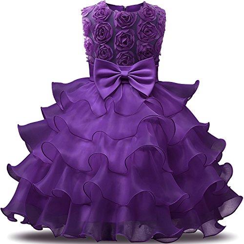 NNJXD Mädchen Kleid Kinder Rüschen Spitze Party Brautkleider Größe(110) 3-4 Jahre Blumen Lila 3 Kleid