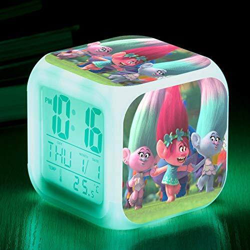 piaolinglifang store LED quadratischer Kleiner Wecker Sieben Farblichter mit Temperaturanzeigen-Weckfunktion Wecker-Animationsspiel-Peripheriewecker m001-209