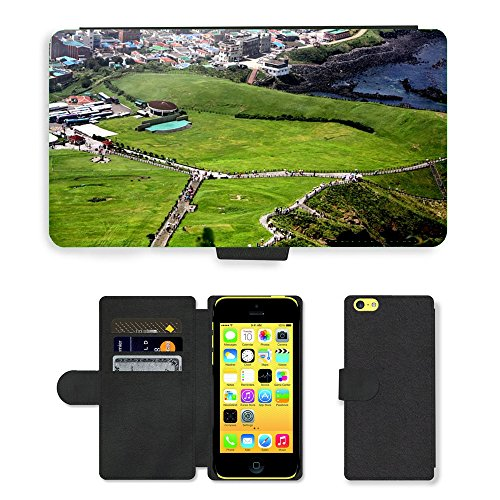 Just Mobile pour Hot Style Téléphone portable étui portefeuille en cuir PU avec fente pour carte//m00139312Vert un oiseau de Eye View pelouse//Apple iPhone 5C