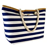 Strandtasche XL Shopper Einkaufstasche blau weiß gestreift Maritim Look Umhängetasche Damentasche
